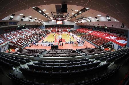 無観客で行われたBリーグ1部の千葉―宇都宮の試合=3月、千葉県船橋市総合体育館