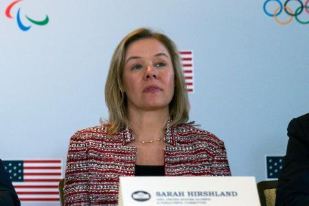 米国オリンピック・パラリンピック委員会(USOPC)のサラ・ハーシュランド最高経営責任者(CEO)=2月、ビバリーヒルズ(AP=共同)