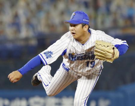 9回途中から登板し、今季初セーブを挙げたDeNA・山崎=横浜