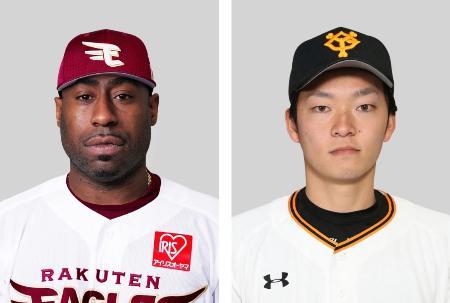 楽天のゼラス・ウィーラー内野手(左)、巨人の池田駿投手