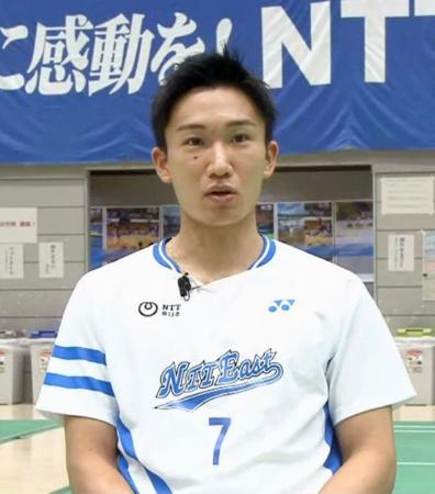 オンラインでの取材に応じるバドミントン男子の桃田賢斗=26日午前