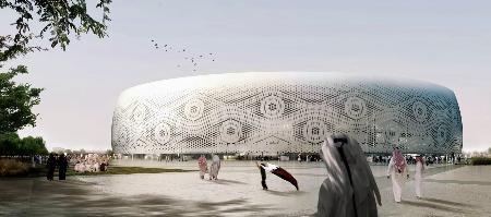 マーク・フェンウィック氏の建築事務所が設計した、ドーハの2022年サッカーW杯スタジアムのイメージ(フェンウィック・イリバレン・アーキテクツ提供・共同)