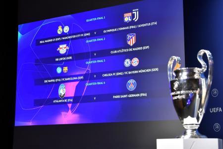 スイスのニヨンで行われた欧州チャンピオンズリーグの準々決勝以降の組み合わせ抽選=10日(ロイター=共同)