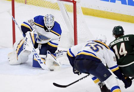NHL第21週のワイルド―ブルース戦=2月23日、セントポール(AP=共同)