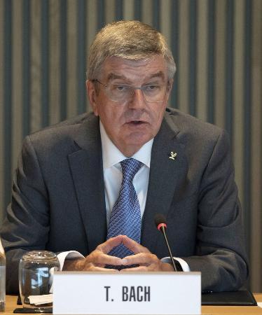 IOCのバッハ会長=6月10日、ローザンヌ(ロイター=共同)