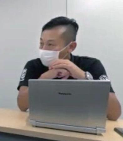 理事会後にオンラインで記者会見するバスケットボール男子Bリーグの島田慎二チェアマン=14日