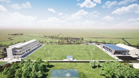 熊谷スポーツ文化公園内に建設されるパナソニックの新練習場などの完成イメージ図(埼玉県ラグビー協会提供)