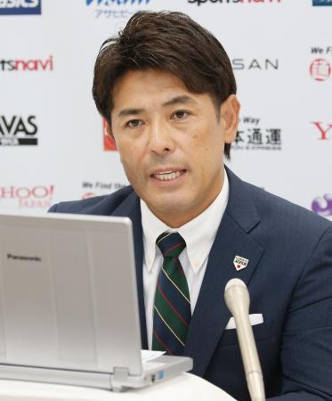 オンラインで取材に応じる野球日本代表の稲葉篤紀監督=17日、札幌市(代表撮影)