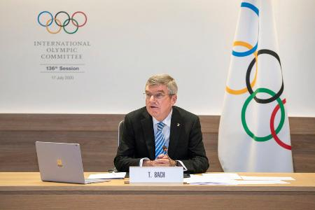 IOC総会に出席したバッハ会長=17日、ローザンヌ(IOC提供・共同)