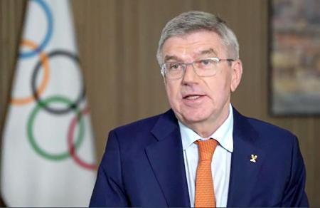 東京五輪開幕1年前に合わせ、22日にIOCが配信したインタビュー映像で語るバッハ会長(IOC提供・共同)
