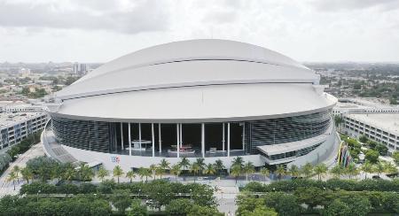 米大リーグ、マーリンズの本拠地マイアミの「マーリンズ・パーク」(ゲッティ=共同)