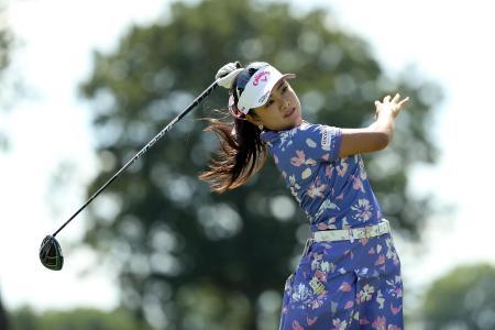 米女子ゴルフのドライブオン選手権第1日、河本結の8番ティーショット=31日、トレド(ゲッティ=共同)