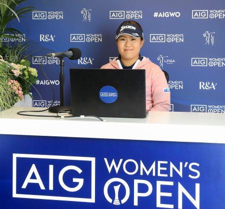 AIG全英女子オープンに向け、オンラインで記者会見する畑岡奈紗=19日、ロイヤルトルーンGC(R&A提供・ゲッティ=共同)