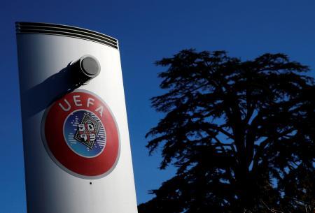 スイス・ニヨンの欧州サッカー連盟(UEFA)本部(ロイター=共同)