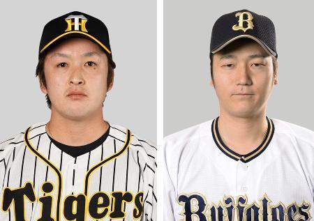 阪神の飯田優也投手、オリックスの小林慶祐投手