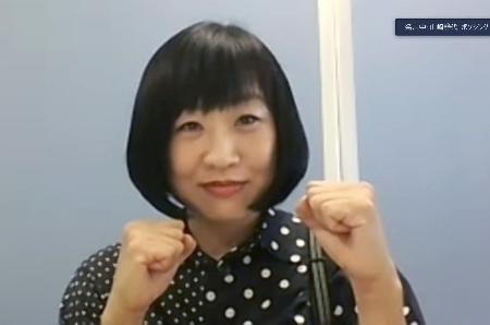 日本ボクシング連盟の女子の強化委員、普及委員に就任し、オンラインで記者会見する南海キャンディーズの「しずちゃん」こと山崎静代さん=2日午前