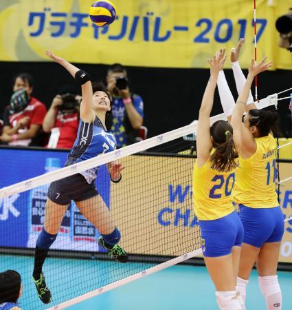 「グラチャン」2017年大会の女子、日本―ブラジル戦=名古屋市