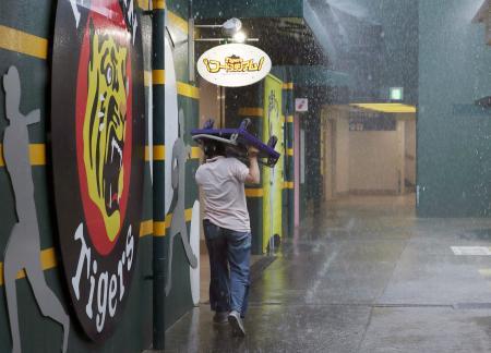 強い雨の中、台車を傘の代わりにする球場関係者。阪神―巨人戦は中止となった=甲子園