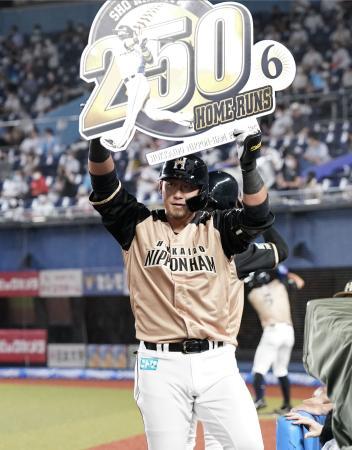 1回、通算250本塁打となる2ランを放ち、記念のボードを掲げる日本ハム・中田=ZOZOマリン