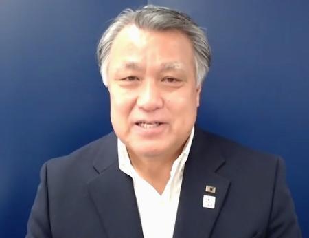 サッカーの第100回天皇杯に向けてオンラインで記者会見する日本サッカー協会の田嶋幸三会長=14日