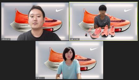 ナイキの厚底シューズ新色発表会に、オンラインでゲスト参加したマラソンの大迫傑(右)と鈴木亜由子(下)=15日