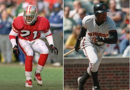 ディオン・サンダース、左はNFLの49ers時代、右は米大リーグのジャイアンツ時代(AP=共同)