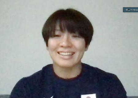 オンラインで取材に応じる柔道女子63キロ級の田代未来=30日