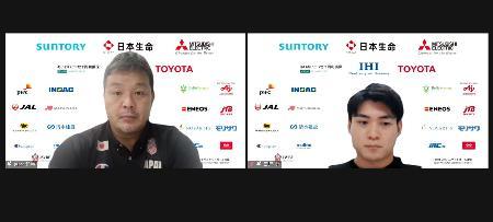 オンラインで取材に応じる車いすバスケットボール男子日本代表の豊島英主将(右)と京谷和幸ヘッドコーチ=8日午後