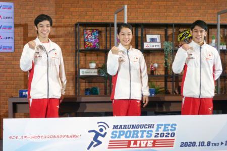 東京都内でイベントに出席した体操の(左から)白井健三、畠田瞳、谷川航=17日
