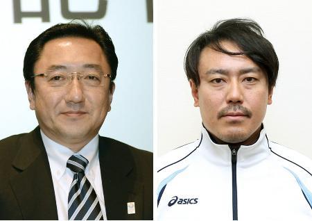 全日本スキー連盟の北野貴裕会長(左)、皆川賢太郎競技本部長