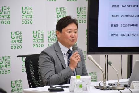 自治体に求める提言を発表する日本財団ボランティアサポートセンターの二宮雅也参与=22日、東京都港区