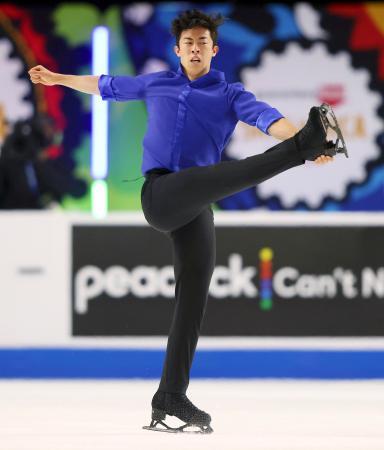 スケートアメリカの男子で4連覇を達成したネーサン・チェンのフリー=ラスベガス(ゲッティ=共同)