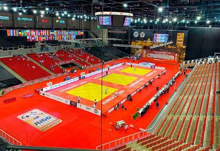 柔道の国際大会再開戦で、無観客で行われたグランドスラム・ブダペスト大会の会場=25日(国際柔道連盟提供・共同)