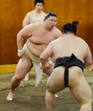 幕下力士らと稽古する正代=東京都墨田区の時津風部屋(日本相撲協会提供)