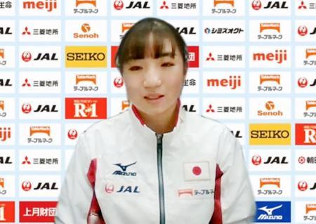 11月の国際大会に向け、オンラインで記者会見する体操女子の寺本明日香=29日