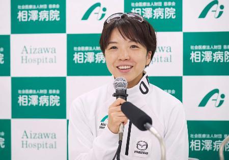 オンラインで取材に応じるスピードスケート女子の小平奈緒=3日(相沢病院提供)