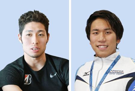 競泳の日本選手権にエントリーした萩野公介(左)と松元克央