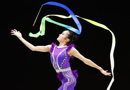 女子個人総合で3連覇を果たした喜田純鈴のリボン=高崎アリーナ