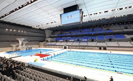 東京五輪・パラリンピックの水泳会場、東京アクアティクスセンター=東京都江東区