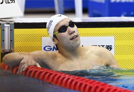 男子200メートル自由形で3連覇を果たした松元克央=東京アクアティクスセンター