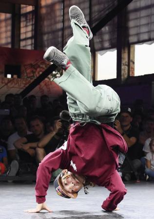第1回世界アーバン大会のブレイクダンス。写真は女子で優勝した湯浅亜実=2019年9月、ブダペスト