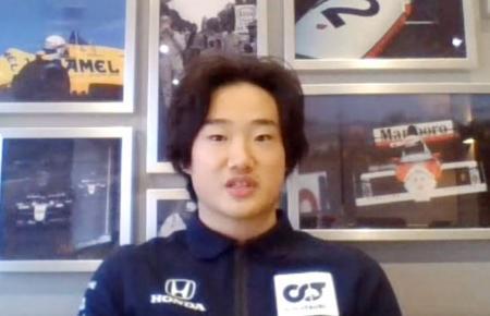 来季の自動車F1シリーズの参戦が決まり、オンライン取材に応じる角田裕毅=17日