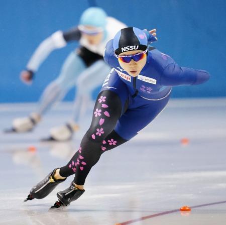 女子1000メートル 優勝した高木美帆=明治北海道十勝オーバル(代表撮影)