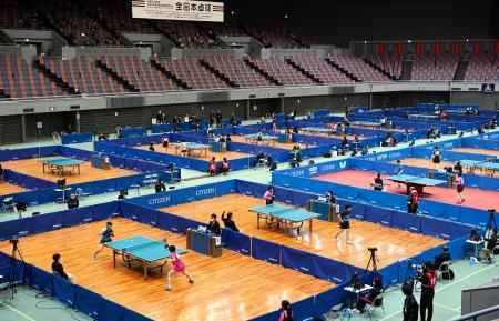 無観客で始まった卓球の全日本選手権=丸善インテックアリーナ大阪