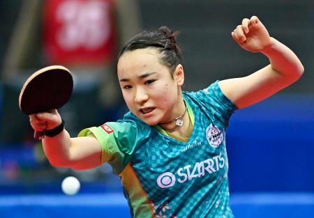 女子シングルスで準々決勝進出を決めた伊藤美誠=丸善インテックアリーナ大阪