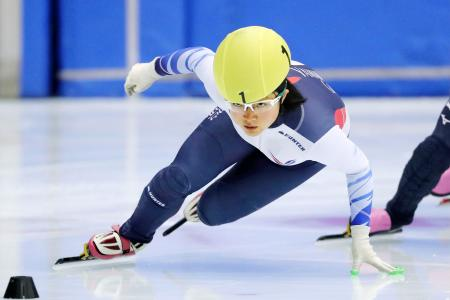 女子1500メートルで優勝した山名里奈=帝産アイススケートトレーニングセンター(アフロスポーツ/JSF提供)