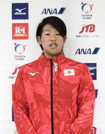 オンラインで取材に応じるソフトボール女子日本代表の上野由岐子=4日