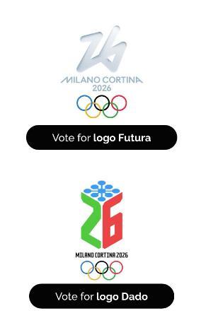 2026年ミラノ・コルティナダンペッツォ冬季五輪組織委員会が公式サイトで公表した大会エンブレムの2候補(共同)