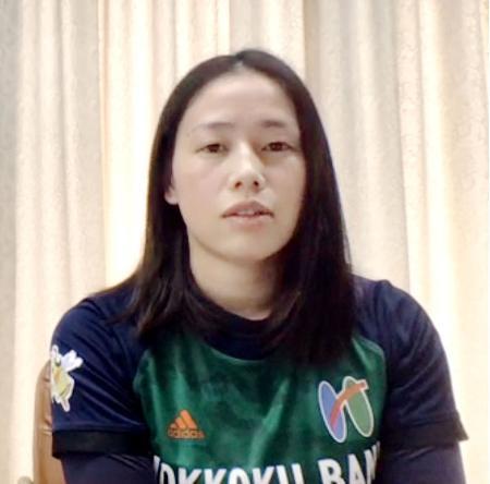 ハンドボールの日本リーグ・プレーオフに向け、意気込みを語る北国銀行の大山=8日