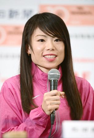 名古屋ウィメンズマラソンを前に記者会見する松田瑞生=12日、名古屋市(代表撮影)